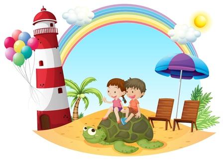 Ilustracja dzieci gry z żółwia na brzegu morza na białym tle