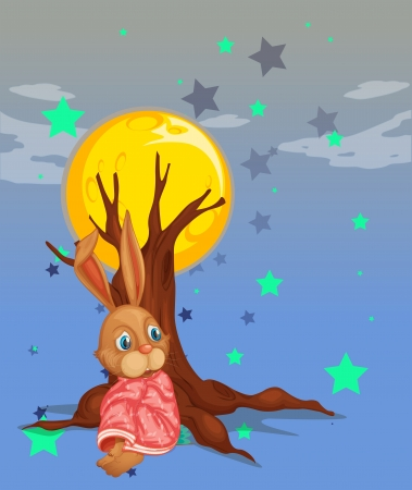 Illustration of a bunny resting beside the big tree Vector
