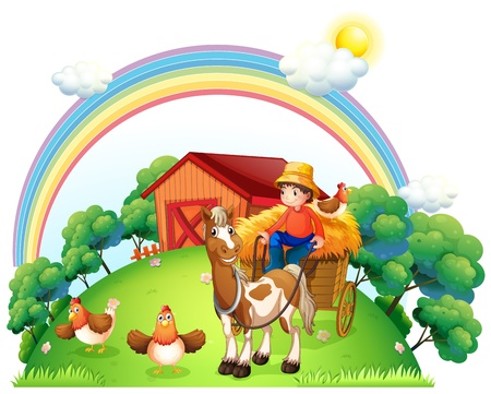 Ilustración de un muchacho que monta en su carro de la granja en un fondo blanco