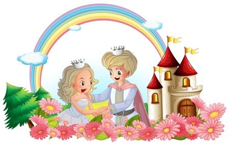 castillos de princesas: Ilustración del rey y la reina delante de su castillo sobre un fondo blanco