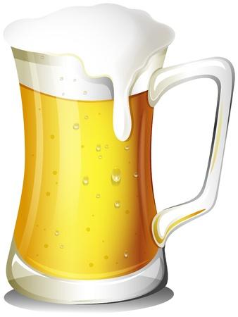 Illustratie van een mok vol met koud bier op een witte achtergrond