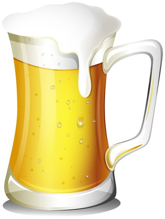 Illustrazione di un boccale pieno di birra fredda su sfondo bianco