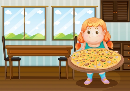 Illustration of a fat girl holding a circle of pizza Stock Vector - 18610853