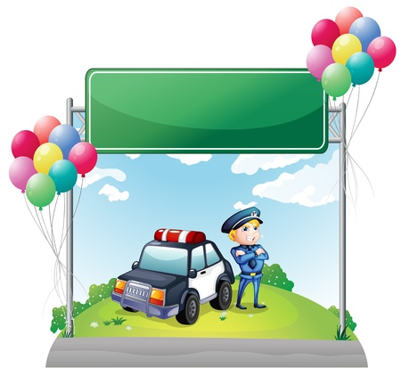 Illustration of a policeman with his car near the green empty board on a white background Vector