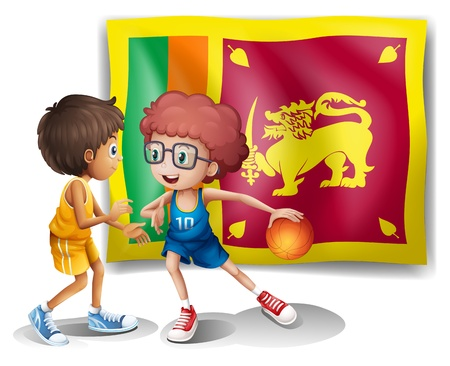 srilanka: Illustration of the flag of Sri Lanka with the two basketball players on a white background