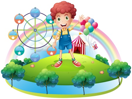 Illustration of a boy near an amusement park on a white background Vector