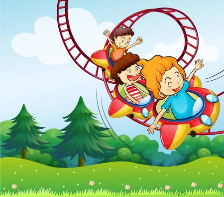 amusement park ride: Illustration of the three kids riding in the roller coaster Illustration