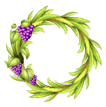 Illustration of a round frame with vine grapes on a white background Vector