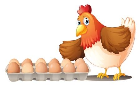 Ilustración de la docena de huevos en una bandeja y la gallina en un fondo blanco