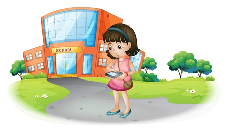 Illustration of a young girl texting in front of a school building on a white background Vector