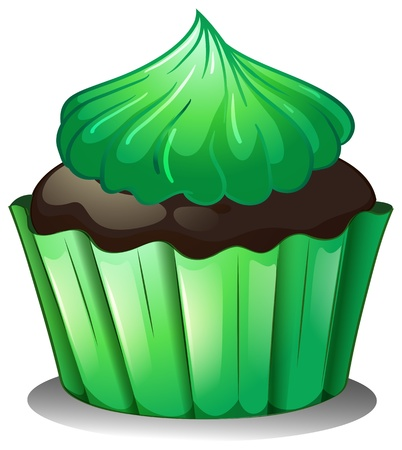 Illustration of a cupcake with green icing on a white background Vector