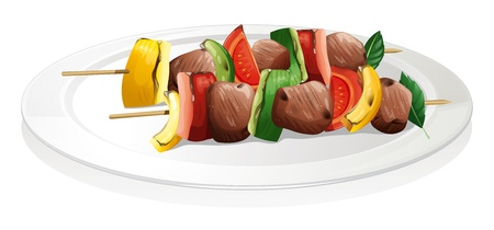 Illustration of a plate with barbeque on a white background Vector
