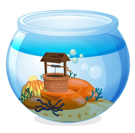 Illustration of a wishing well inside the aquarium on a white background Vector