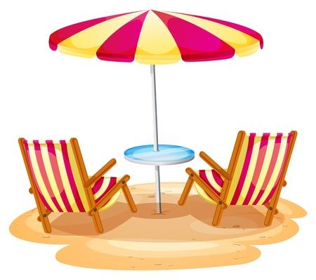 Illustrazione di un ombrellone a righe e le due sedie di legno su uno sfondo bianco