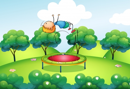 backflip: Illustration of a boy and the bouncing platform Illustration