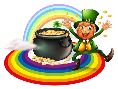Illustration of a man beside a pot of gold coins on a white background Vector