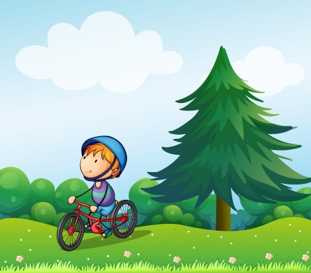 tress: Illustration of a boy with a safety helmet riding in his bike Illustration