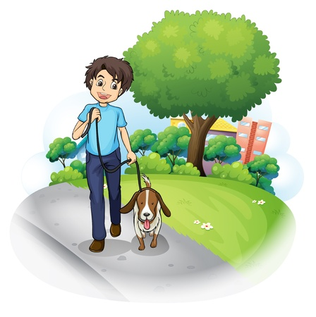 Illustration of a boy with a dog walking along the street on a white background. Vector
