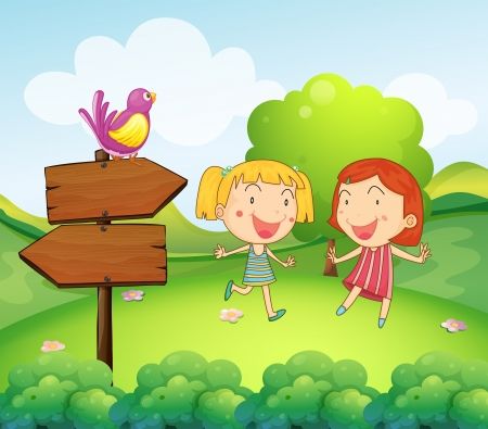 birds scenery: Illustration of a wooden board with a bird beside the two young girls Illustration