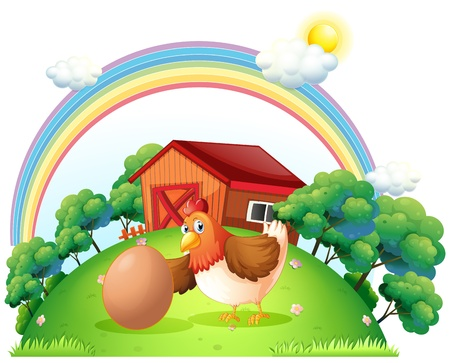 Illustration of a hen and an egg near the wooden house on a white background Illustration