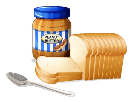 Illustration of the sliced breads and a bottle of peanut butter on a white background Vector