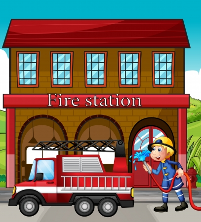 Illustration of a fireman and a fire truck in front of the fire station Vector