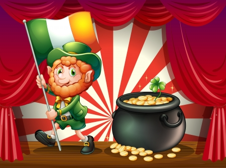 patron saint of ireland: Illustration of a man with a flag and a pot of gold at the stage Illustration