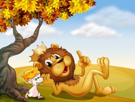 rata caricatura: Ilustración de un león rey y un ratón bajo el árbol