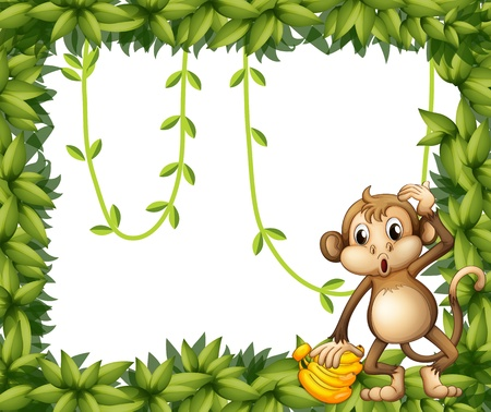 banana leaf: Illustration of a frame of leaves with a monkey and bananas