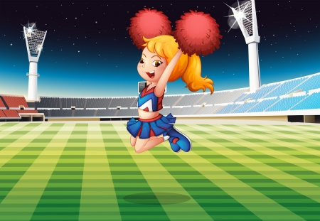 college girl: Illustration of a cheerleader dancing at the stadium Illustration