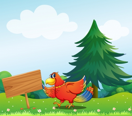 Illustration of a chicken beside an empty wooden signboard  Vector