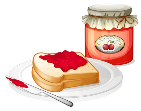 ceramic bottle: Illustration of a sandwich inside the plate with a cherry jam on a white background