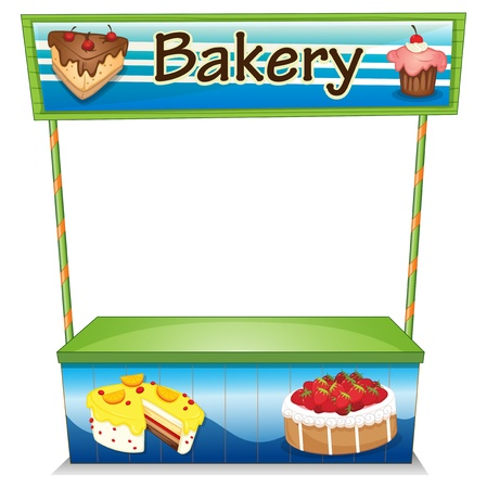 Illustration of a wooden bakery stall on a white background