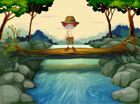 Illustration of a boy standing above the trunk at the river Vector