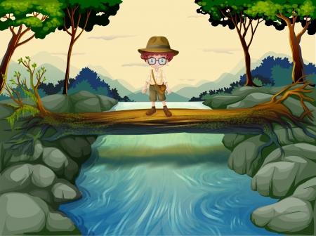 Ilustracja chłopca stojącego ponad bagażniku na rzece