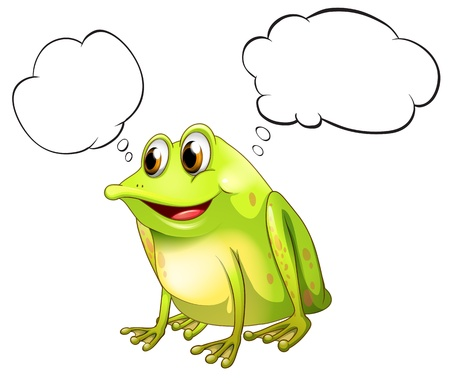 Illustration of a green bullfrog with empty callouts on a white background Vector