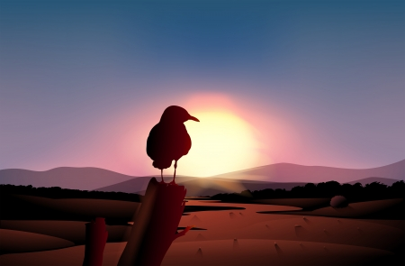 Illustration of a sunset in the desert with a bird at a branch of a tree Vector