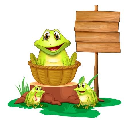 planche: Illustration d'une grenouille dans un panier pr�s du panneau vide sur un fond blanc Illustration