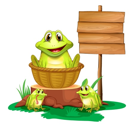 Illustration of a frog inside a basket near the empty signboard on a white background Vector