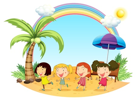 rainbow umbrella: Illustration of the young women at the beach on a white background