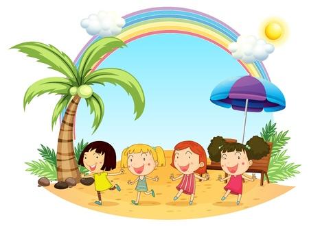 arcoiris caricatura: Ilustraci�n de las mujeres j�venes en la playa en un fondo blanco Vectores