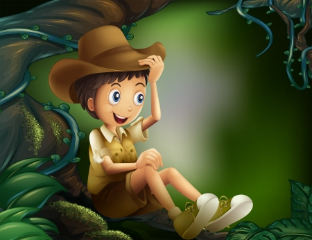 Illustration of a young gentleman in the rainforest Illustration