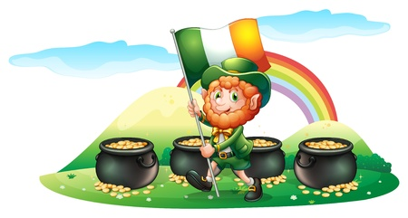 feast of saint patrick: Illustration of the four pots of coins at the back of a man with the Ireland flag on a white background
