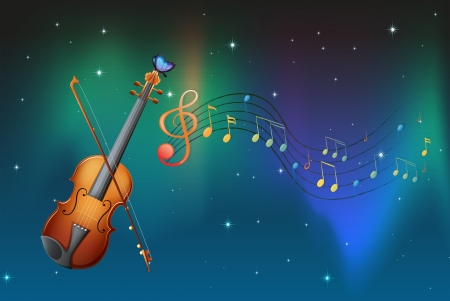half note: Illustration of a string instrument with a butterfly and musical notes