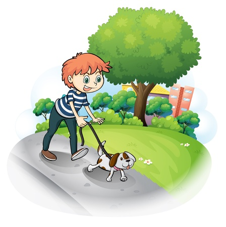 Illustration of a boy walking with his dog along the street on a white background  Vector
