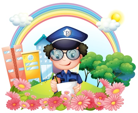 Illustration of a policeman writing near the flowers on a white background