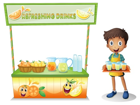 Illustration of a boy with a stall of refreshing drinks on a white background Vector