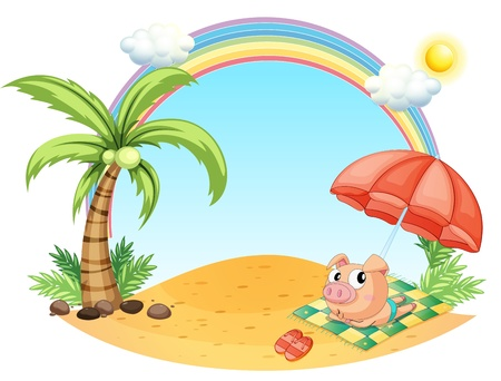Illustration of a pig relaxing at the beach on a white background Vector