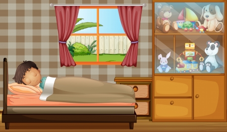 Illustration of a boy sleeping in his bedroom Vector