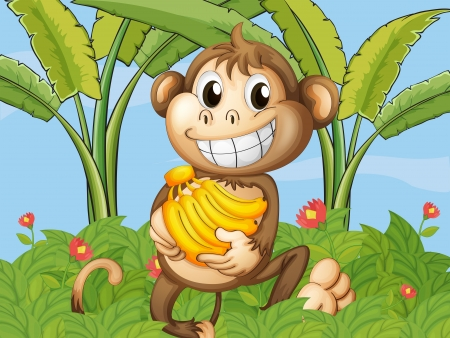 cheeky: Illustration of a happy monkey with bananas